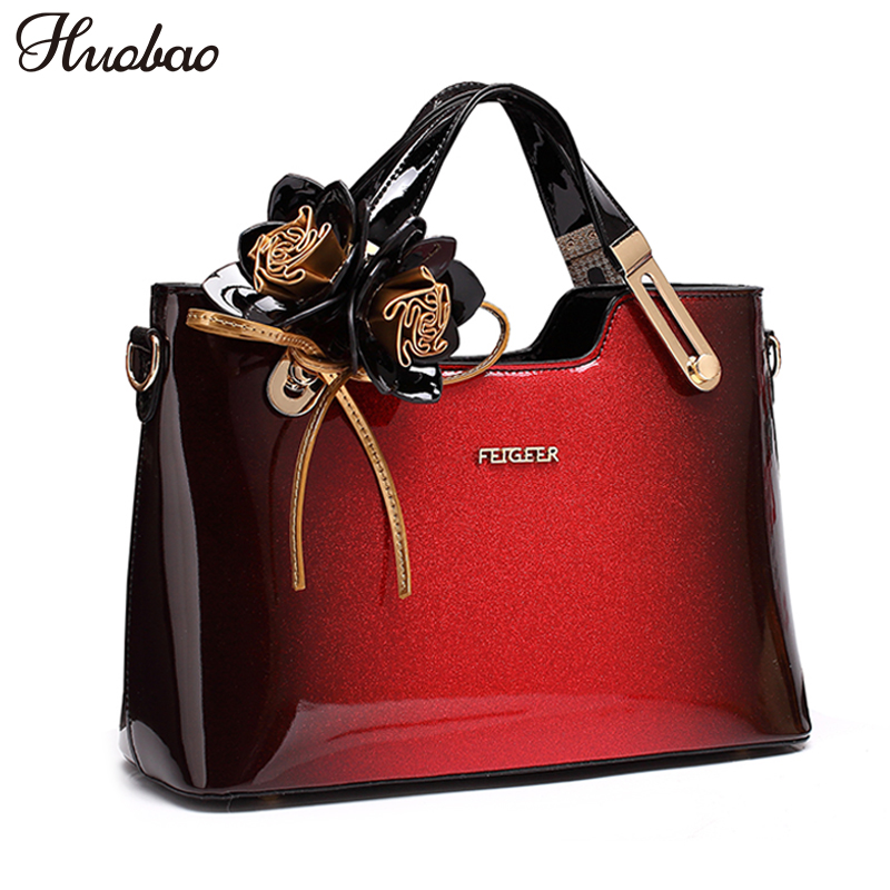 2020 New Women Patent Leather Handbags Designer High Quality Women Messenger Bag Luxury Ladies Shoulder Bag Fashion Flowers Tote