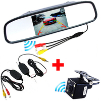 Auto Assistance 3 In 1 4.3 Inch TFT LCD Rearview Mirror Monitor with Wireless Car Backup Reversing Rear View Camera Night Vision