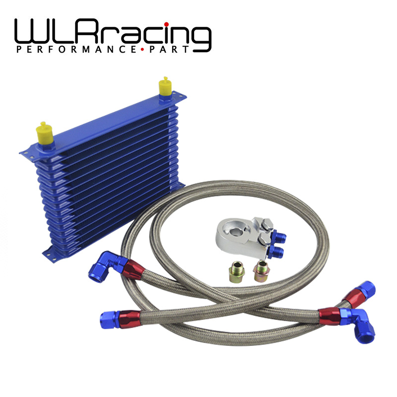 WLRING STORE- 15 ROW AN- 10AN UNIVERSAL ENGINE OIL COOLER KIT + ALUMINUM HOSE END KIT WLR-5115B+6723S+2PCS an10 7 row universal engine transmission oil cooler hose end kit