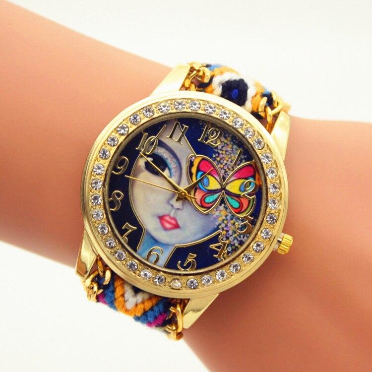 100 ชิ้น/ล็อตน่ารักสาว dial สานเชือกนาฬิกาควอตซ์คริสตัลนาฬิกาผู้หญิงเชือกถักริบบิ้นนาฬิกาขายส่งควอตซ์นาฬิกา-ใน นาฬิกาข้อมือสตรี จาก นาฬิกาข้อมือ บน   1