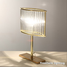 L320 H420 W110mm RH family hotel glass crystal desk light LED table lamp ghost modern luxury gold table light lamp golden(China)