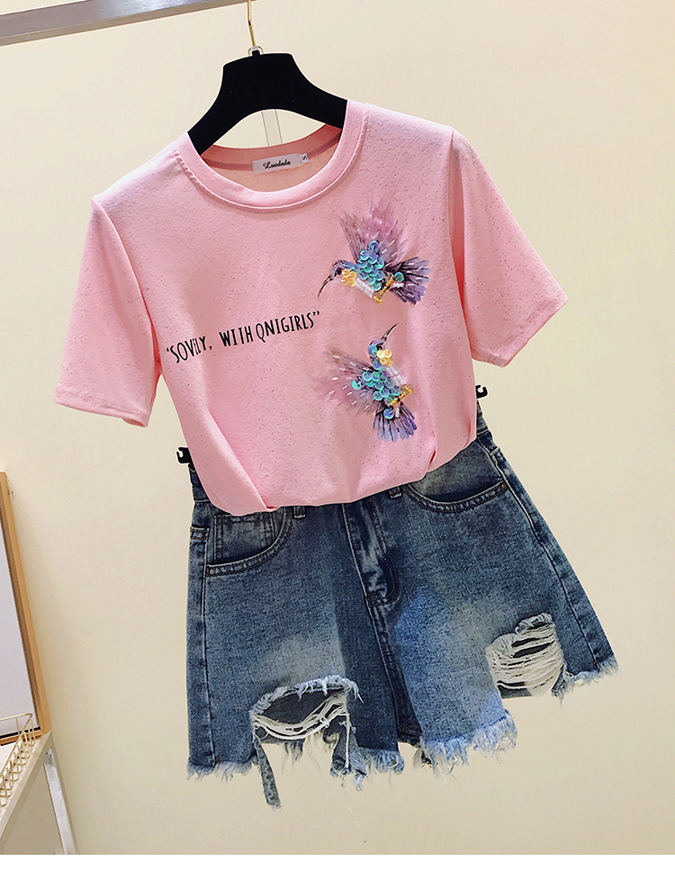 Plus Size Pink Summer Female T-shirt Korean Women Tops Women Tee Shirt Short Sleeve Fashion 2020 Print Clothes blusas  4911 50