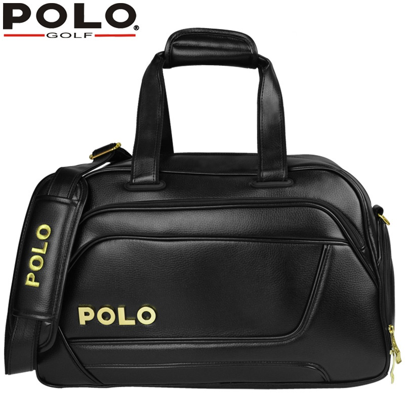 Authentic Brand Men Double Shoulder Golf Clothing ShoesTravel Bag Handbag Bag Waterproof PU Leather Sports Portable Ball Package