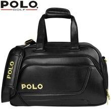 Authentic Men Double Shoulder Golf Clothing ShoesTravel Bag Handbag Bag Waterproof PU Leather Sports Portable Golf Ball Packag