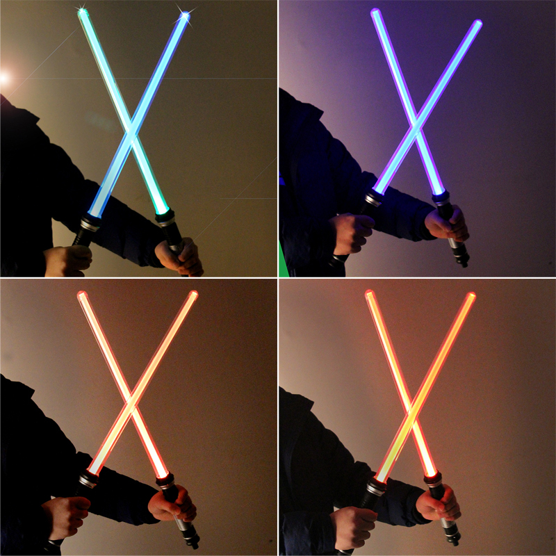 2pcs/set Star Wars Led Flashing Sword Cosplay Weapons Lightsaber Kids Toys For Children Pattern Induced Discoloration Flash Toy 2pcs cosplay star wars lightsaber sound telescopic led flashing light sword toys weapons sabers pvc action figure toy gifts boys