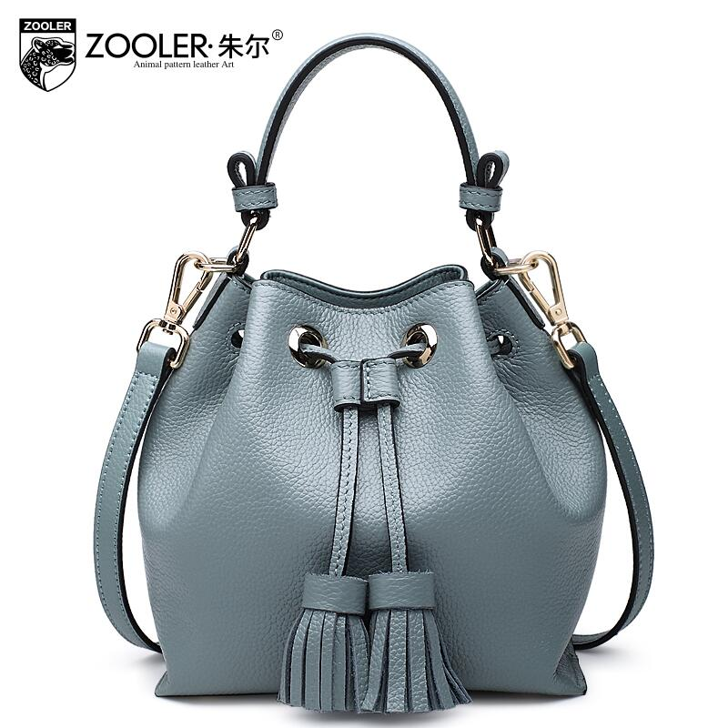 2016 New zooler genuine leather women bag brands fashion quality cowhide bucket bag women leather font