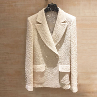 Brand 2019 Autumn Winter New Women's Jacket Wool Tweed Pearls Pocket Jacket Solid White Jacket Delicate Elegant Female Y278