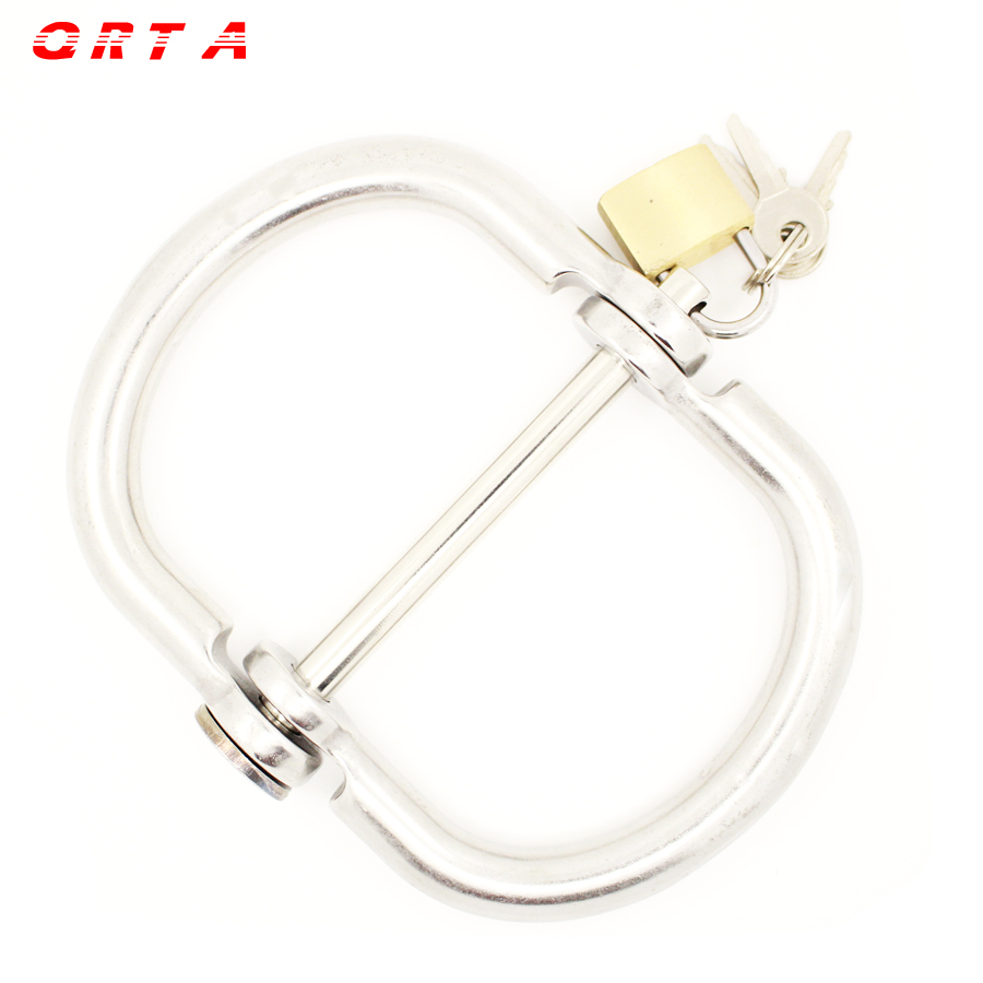 QRTA Silver Stainless Steel Handcuffs Restraint Bondage feet bound Sex Flirt Toys adult games product for couples Naruchniki