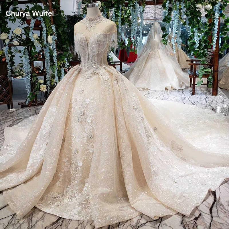 HTL381 suknia balowa suknie ślubne księżniczka sukienka dla nowożeńców kwiaty wysoka neck lace up powrót tassel suknia ślubna vestido para casamento