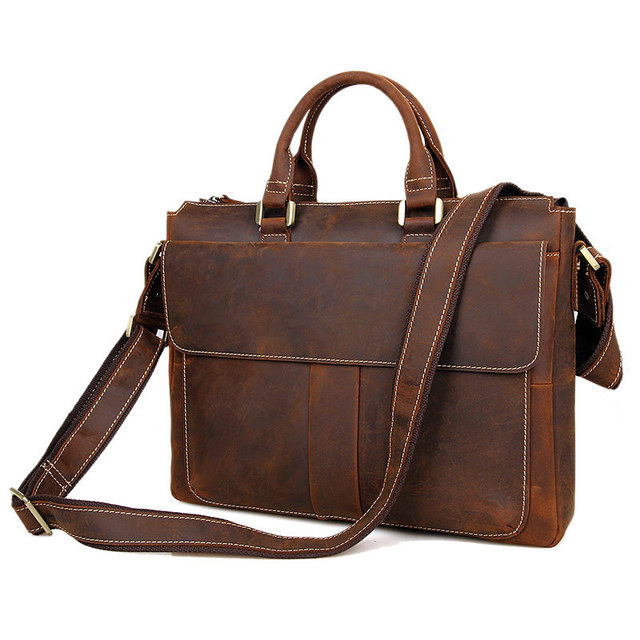 Nesitu Best Quality Vintage Brown Crazy Horse Leather Genuine Men Messenger Bags Briefcase Portfolio