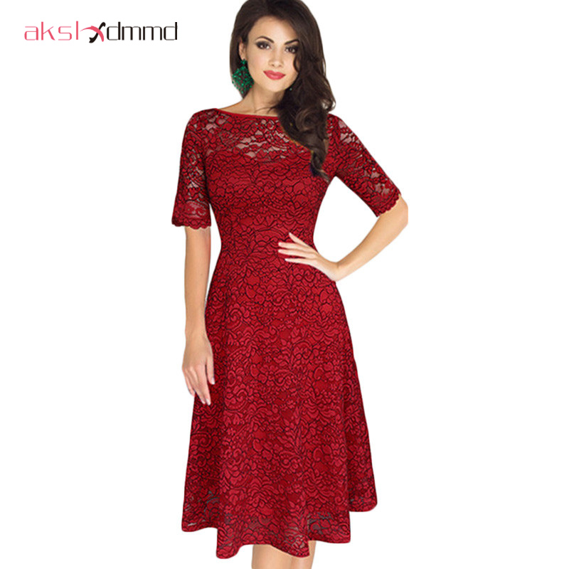AKSLXDMMD Women Vintage Party Lace <font><b>Dresses</b></font> 2019 New Spring and Summer Women's Elegant Boutique <font><b>Sexy</b></font> Lace <font><b>Dress</b></font> LH781 image