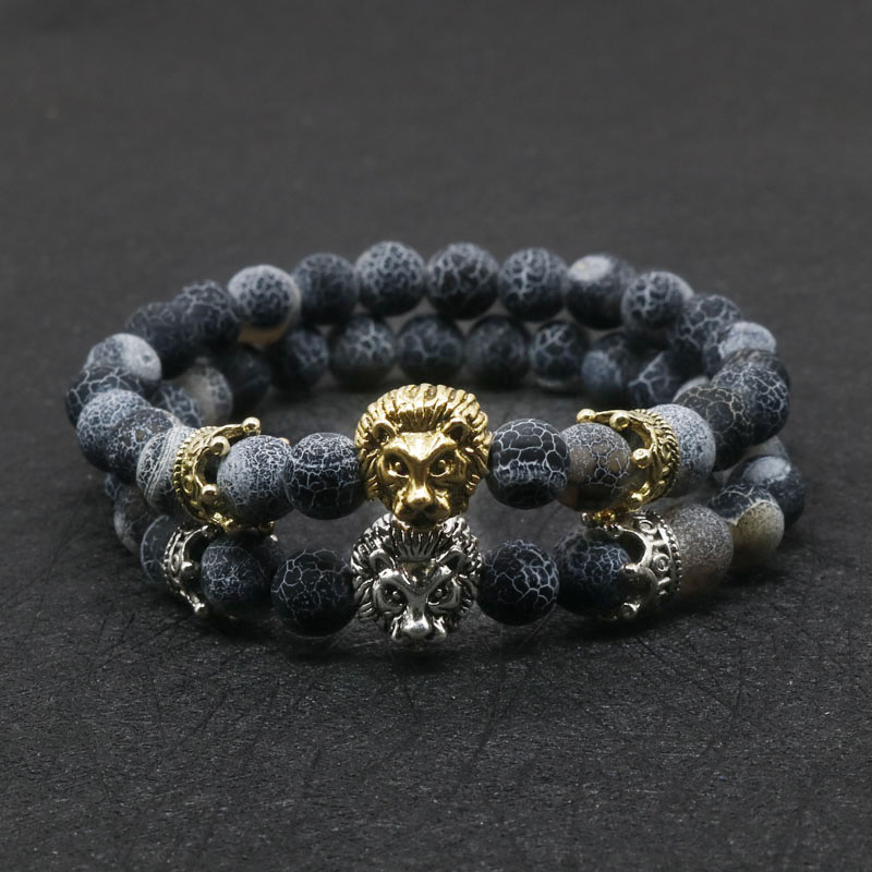 Wholesale Antique Gold Silver Buddha Leo Lion Head Bracelet Black Lava Stone Beaded Bracelets For Men Women Pulseras Hombre N4-3 bracelet