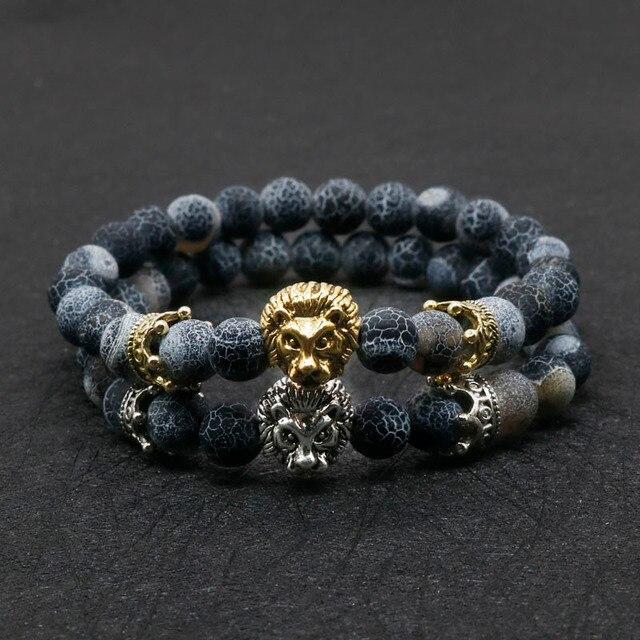 1defbf180366 Venta al por mayor de oro antiguo Color Buda Leo León cabeza pulsera de  Lava negro