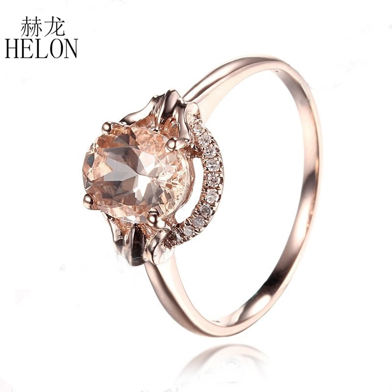 HELON Diamonds Ring For Women Romantic Solid 14k Rose Gold Flawless Oval 1.3CT Morganite Engagement Ring Exquisite Fine JewelryHELON Diamonds Ring For Women Romantic Solid 14k Rose Gold Flawless Oval 1.3CT Morganite Engagement Ring Exquisite Fine Jewelry
