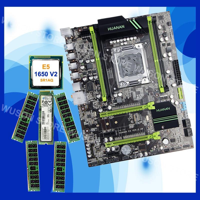 Marca HUANAN ZHI descuento X79 placa base con CPU Xeon E5 1650 V2 SR1AQ 3,5 GHz RAM 32G (4 * 8G) DDR3 1600 RECC M.2 256G SSD NVME