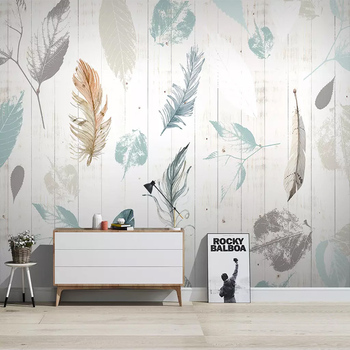 Custom Nordic Leaf Feather Modern Wood Grain Background Wall Cloth Art Wallpaper Bedroom Living Room Sofa Wall Decoration Mural paysota vintage wood grain grey wallpaper bedroom living room sofa background wall paper roll