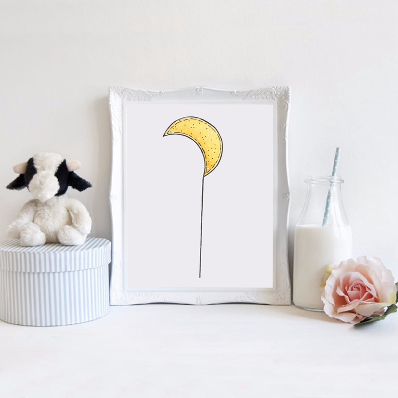 Hand-Drawn-Moon-Art-Print-Wall-Pictures-Watercolor-Moon-Canvas-Art-Painting-Poster-Baby-Room-Cartoon (1)