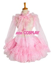 New Arrival Sissy Maid Pink Organza Lockable Dress Cosplay Costume Women Costumes Halloween Sexy