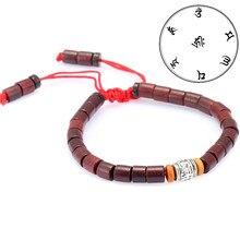 c1dbfb8243a3 Madera tibetano Bead pulsera mujer budismo amuleto Om Mani Padme Hum  pulsera mujeres hombre afortunado ajustable cuerda pulsera .