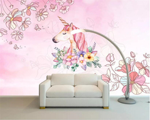 beibehang Customized childrens room decoration 3d wallpaper mural cartoon animal unicorn flowers Pink background