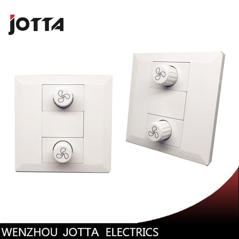 Fan Switch 2 Way Fan Speed Controller Switch Panel 10A AC 220V  Power 200W fans chandelier 86 wall switch fan speed controller ceiling fan light power switch ac220v