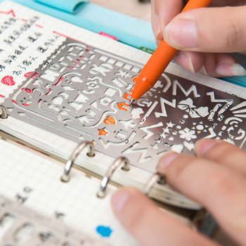 Cutout multifunctional stainless steel doodle drawing ruler portable loose-leaf ruler drawing small pattern metal straight ruler 1sets magic turtle rabbit sketchpad ruler educational drawing board variety puzzle million flowers multifunctional ruler