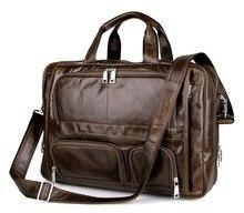Business Large Size Genuine Leather Men Messenger Bags Cowhide Leather Briefcase Men Portfolios 17″ Laptop Travel Bag #MD-J7289