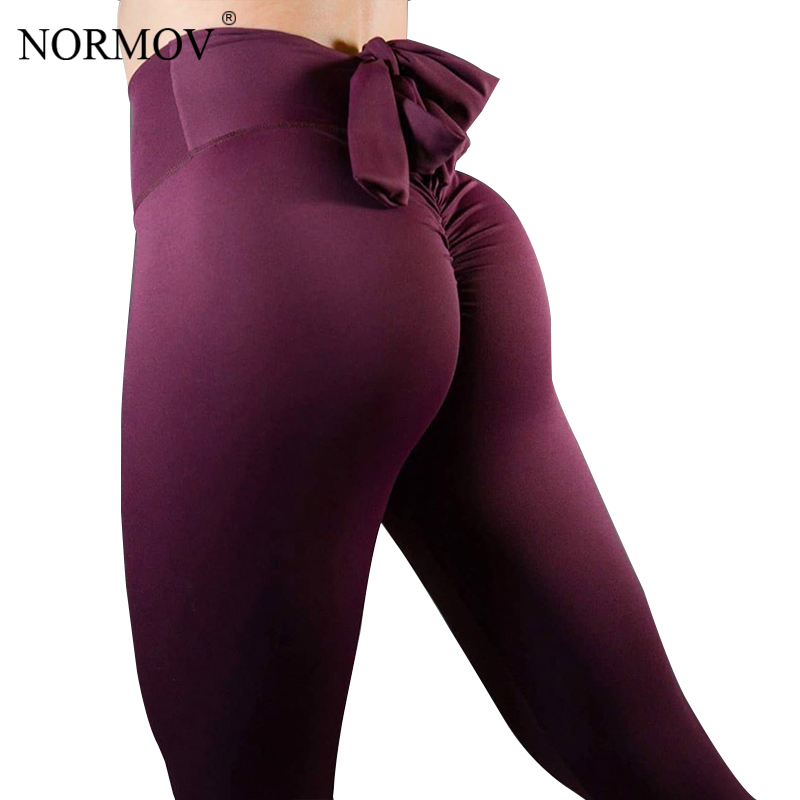 NORMOV Sexy Push Up   Leggings   Women Workout Patchwork High Waist Bow Leggins Mujer Black Bodybuilding Stretch Jeggings 3 Color