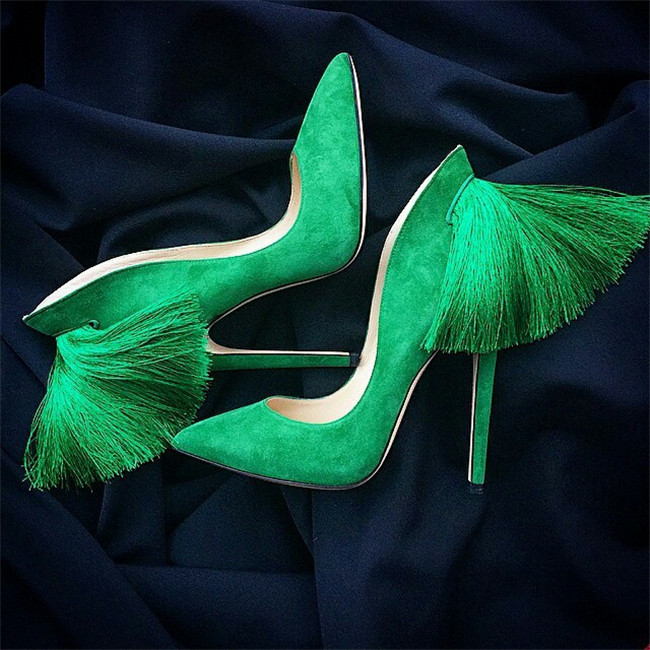 beautiful Candy Color Suede Fringed High Heels Women Pumps Pointed Toe Sexy Ladies Stiletto Back Tassel Design Party Wedding Sho elegant women s round toe pumps with stiletto and suede design