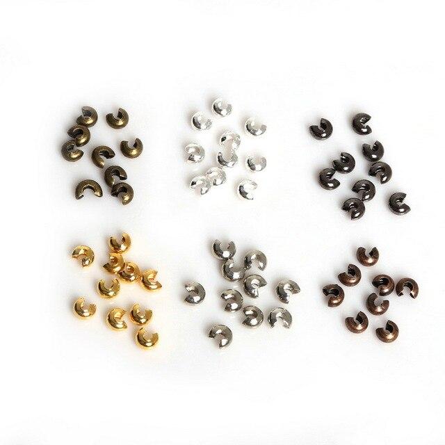 באיכות גבוהה! 100 PCs כסף/זהב/אפרפר/רודיום/ברונזה/נחושת מצופה סגסוגת מלחץ חרוזים עגול מכסה 3mm x 3mm