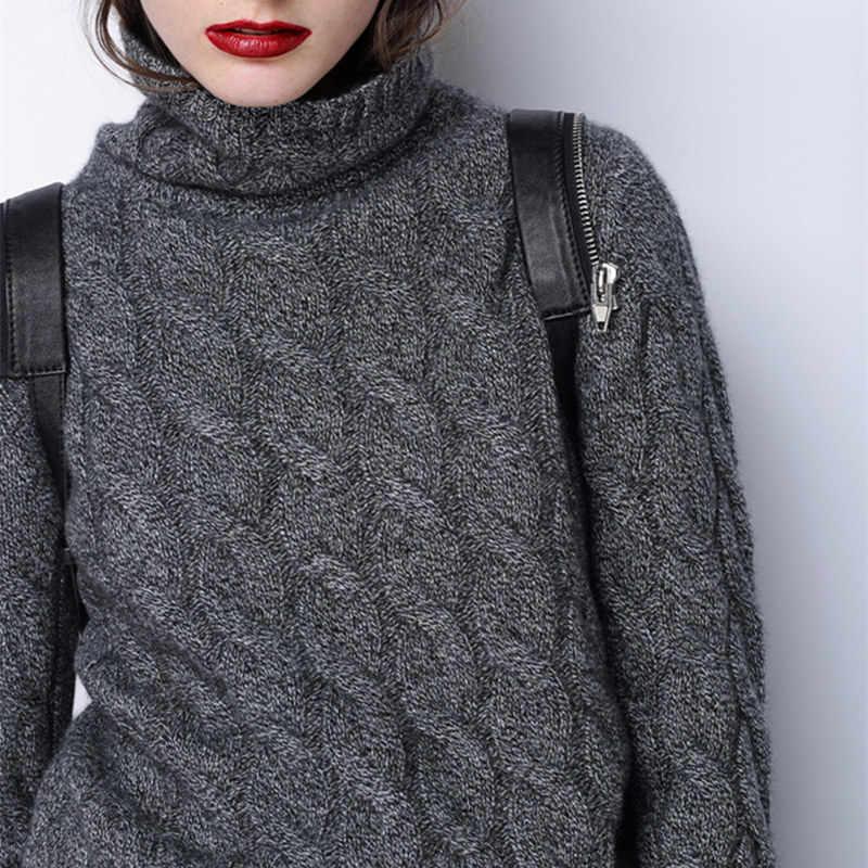 Inverno grosso camisola de gola alta feminino 100% puro suéter de caxemira feminino torção de malha de fundo quente pulôver