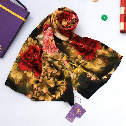 2016 Digital Inkjet Pure Silk Crepe Satin Silk Scarf Printed 175*52cm China Style Mulberry Silk Long Scarf Shawl Rich Peony