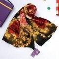 2016 de Inyección de Tinta Digital Pura Seda Crepé Satén Bufanda de Seda Impresa 175*52 cm del Estilo de China de Seda de Mora Larga Bufanda chal Ricos Peonía
