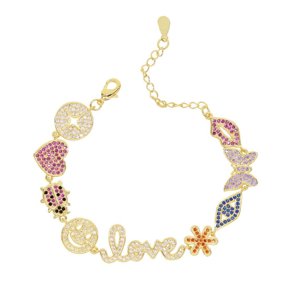 Vogue dame bijoux or rempli cz rouge baiser animal fleur mignon beau coeur breloque chaîne en or collier 32 + 8cm tour de cou bijoux