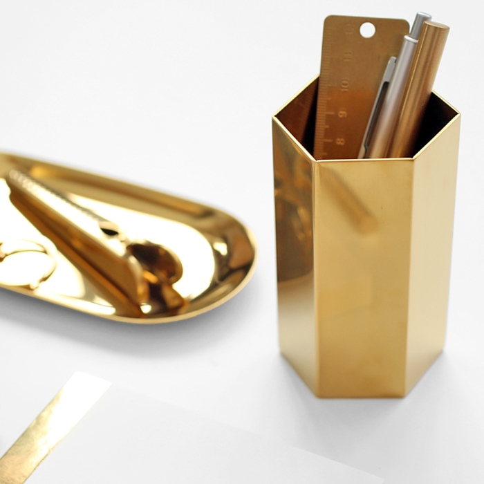 Nordic Style Brass Pencil Vase/Pen Holder for Storage Stainless Steel Desk Accessories Office Decoration Creative Present m style ваза настольная vase