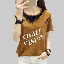 shintimes Female Tshirt Summer 2019 Cotton Hole Casual Women T-Shirt Short Sleeve Korea Fashion Tops Plus Size Tee Shirt Femme