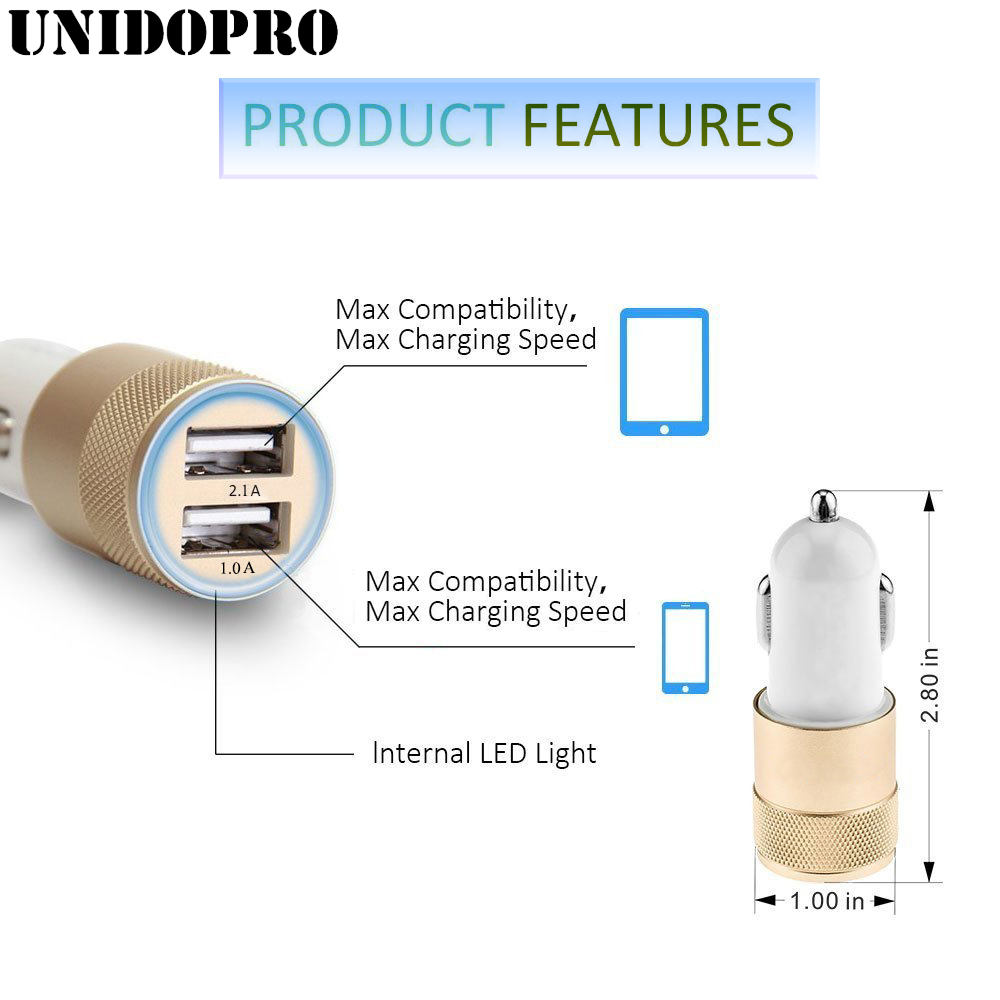 2.1A/24W 2-Port Smart USB Car Charger for iPhone X 8 7 7 Plus 6S 6 Galaxy Note 8 S5 S6 S7 Edge S8 S9 S9+ Phone Charging Adapter