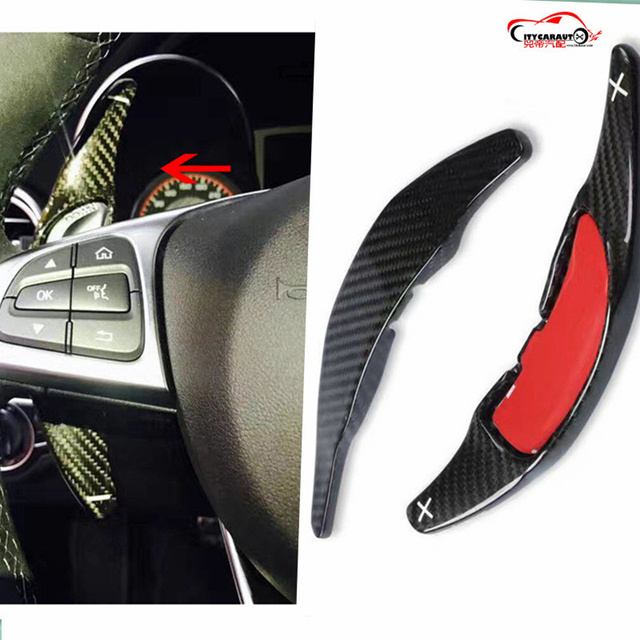 CITYCARAUTO CARBON FIBER STEERING WHEEL SHIFT PADDLE EXTENSION SHIFTER FIT FOR benz C CLASS A45 CLA45 C63 S63 GLA45 GLS63 GLE63