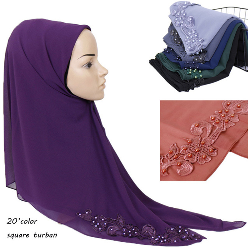 Women Floral Plain Bubble Chiffon Scarf Hijab Coloured Pearl Chiffon Shawl And Wraps Solid Color Headband Muslim Hijab Scarves(China)