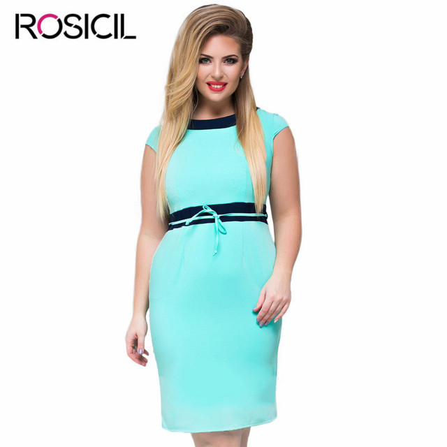 9779afc087c New Elegant Short Sleeve Plus Size Casual Office Summer Dresses For Women  Big Size Bodycon Blue Large Size Female Party Dress