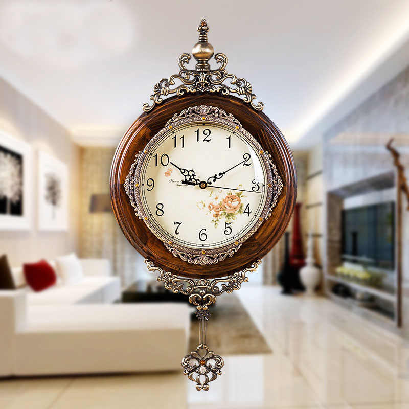European Antique Si Wooden Wall Clocks Pendulum Decor Silent Quartz Movement Art Edge Wall Pendulum Classical Wall Clock