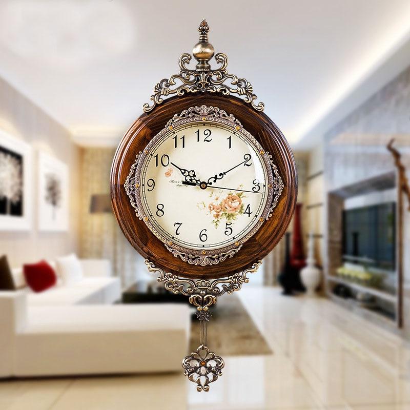 European Antique Si Wooden Wall Clocks Pendulum Decor Silent Quartz Movement Art Edge Wall Pendulum Classical Wall Clock
