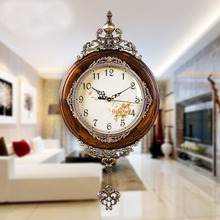 European Antique Si Wooden Wall Clocks Pendulum Decor Silent Quartz Movement Art Edge Classical Clock