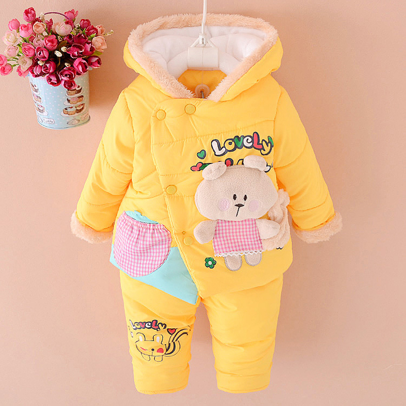 NEW Baby Set Winter Spring BABY Girl Cartoon coat Thick Warm Coat+Pants Warm New Outerwear Down Jacket Clothing Sets