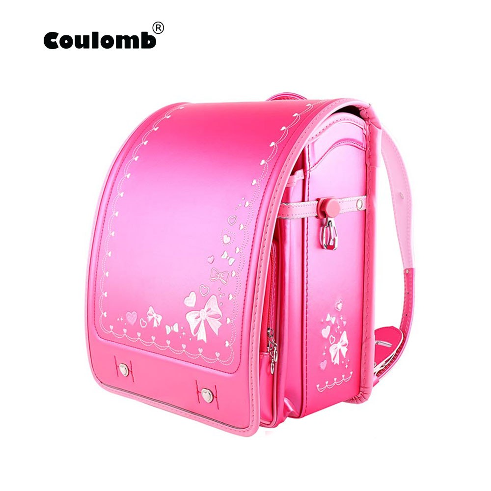 Coulomb Children Japan School Bag For Girls Kid Orthopedic Backpack For School Students Bookbags Japan PU Randoseru Baby Bags New Butterfly Pattern Shoulder Backpack Protection of the Spine Japanese School Bag