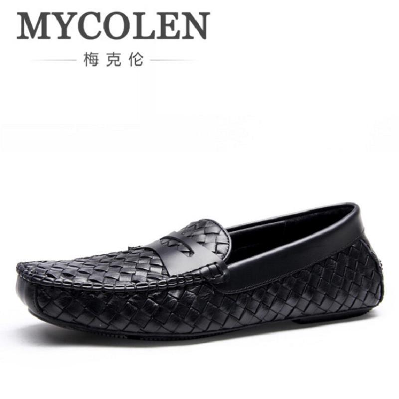 MYCOLEN Mens Shoes Casual 2017 Fashion Leather Men Loafers Shoes Moccasins Breathable Slip On Flats Male Shoes Schuhe Herren mycolen men loafers leather genuine luxury designer slip on mens shoes black italian brand dress loafers moccasins mens