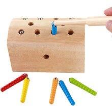 10 adet böcekler temel eğitim geliştirme ahşap manyetik yakalamak böcekler oyun oyuncaklar çocuk çocuk eğitici oyuncaklar