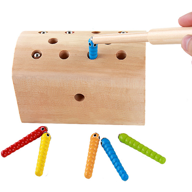 10Pcs Insects Basic Educational Development Wooden Magnetic Catch Insects Game Toys Kids Children Educational Toys