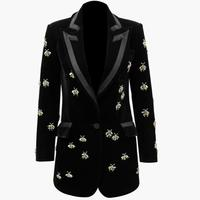 plus size 3XL Spring autumn fashion Blazer Women notched collar Beaded Velvet slim small suit