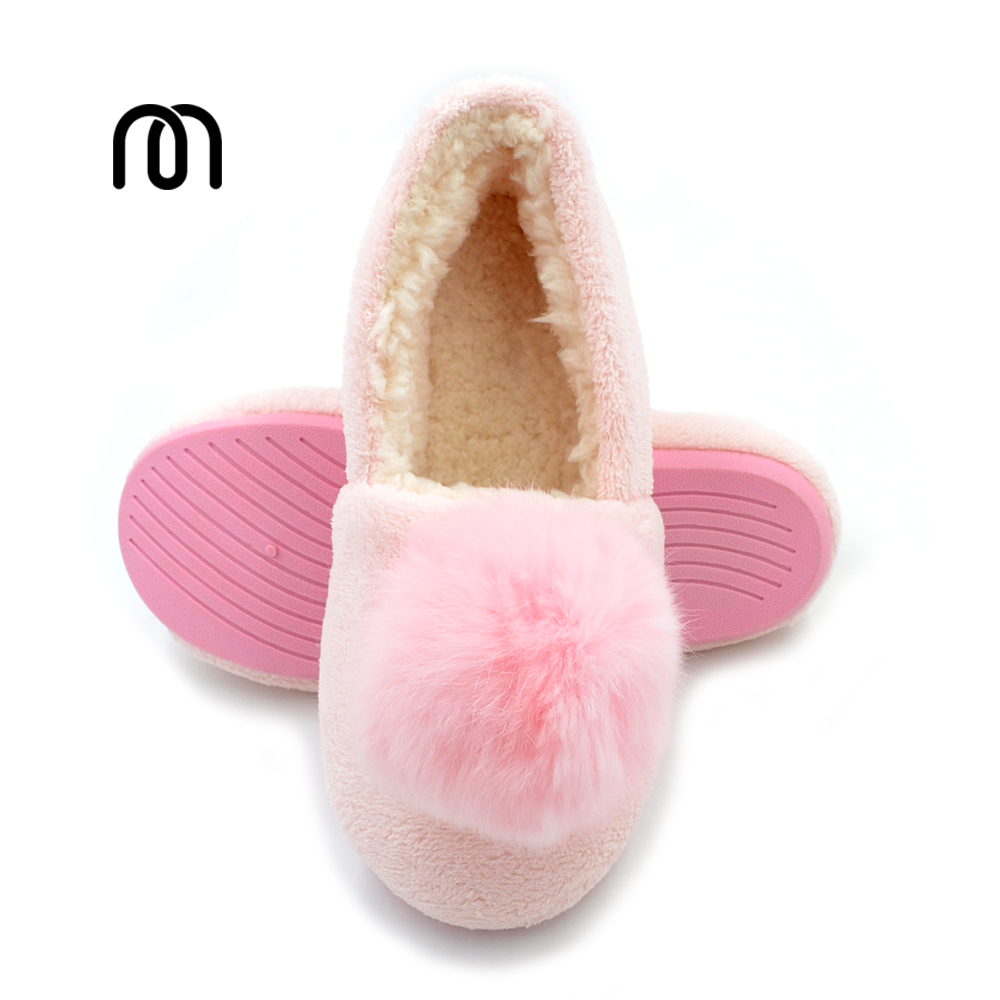 Millffy real rabbit fur ball house autumn and winter shoes floor slippers princess waterproof shoes winter warm home shoes black and white senior rabbit fur hat